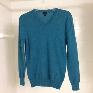 J. Crew Turquoise V-Neck Cashmere Sweater XS